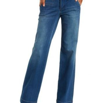 Med Wash Denim Wide Leg Trouser Jeans by Charlotte Russe
