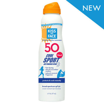 Kiss My Face Cool Sport Spray - Any Angle Air Powered SPF 50 - 6 oz