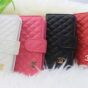 Custom Chanel  leather wallet  iphone 5 case iphone 4 case iphone 4s case samsung case black white red pink blue brown