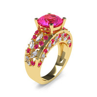 Modern Italian 14K Yellow Gold 3.0 Ct Pink Sapphire Marquise White Sapphire Engagement Ring Wedding Ring R614-14KYGWSPS