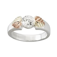 Black Hills Gold Tri-Tone Cubic Zirconia Leaf Solitaire Ring in Sterling Silver (White)