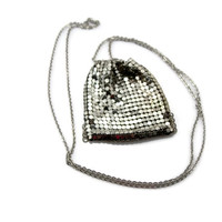 Mesh Purse Necklace, 1970s 70s Disco Era, Change Purse, Stash Bag, Silver Mesh, Drawstring Style, Vintage Jewelry, Necklace, Purse