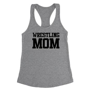 Wrestling mom,mom life, workout clothing, gym, fitness, yoga Ladies Racerback Tank Top