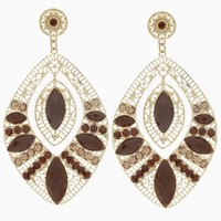 Brown-Gold-Jewel-Statement-Earrings