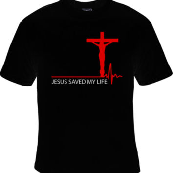 Jesus Saved My Life Christian Tee Shirt T Shirt Womens Gift Custom T shirts