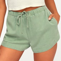 New Yume Sage Green Drawstring Shorts