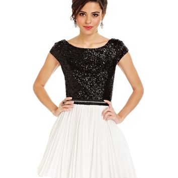 Trixxi Juniors Dress, Cap Sleeve Sequin Colorblock A-Line - Juniors Homecoming Dresses - Macy's