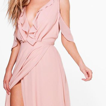 Boutique Alaina Chiffon Frill Wrap Maxi Dress | Boohoo