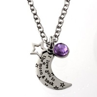 R.h. Jewelry Stainless Steel Pendant, I Love You to the Moon and Back Necklace with Purple Acrylic Crystal