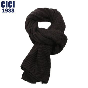 The new Korean autumn winter scarf male England fine wool pure color scarf contracted joker men knitting thick scarf 26