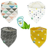 BabyDew Bandana Bibs, Unisex 4 Pack Bib with Snaps - Best for Babies Drooling, Teething and Feeding - Unique 3-layers soft Cotton, Bamboo & Waterproof Fleece. Perfect Baby Shower Gift for Boys & Girls