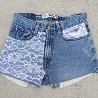 Ariana Denim Shorts with Lace Embellishment