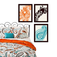 Paisley Peacock Orange Turquoise Brown Floral Design Artwork Set of 3 Prints WALL ART Decor Abstract Picture Bedroom Bathroom Choose Colors