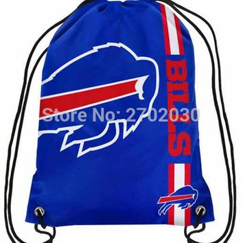 Buffalo Bills Drawstring Bags Men Sports Backpack Digital Printing Pouch Customize Bags 35*45cm Sports National Fottball Team