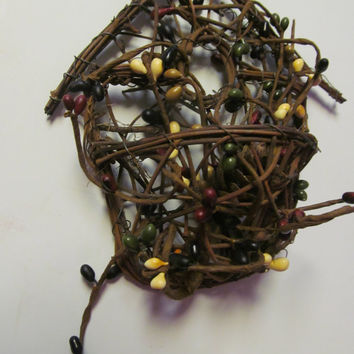 Primitive Birdhouse Decor Twig Birdhouse Pip Berry Garland Primitive Decor    Primitive Rustic Cabin Decor