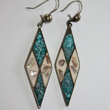 Vintage Sterling Earrings Mexico Turquoise MOP 1960s  Fine Jewelry