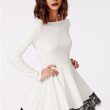 White Long Sleeve Flounced Dress with Lace Trim