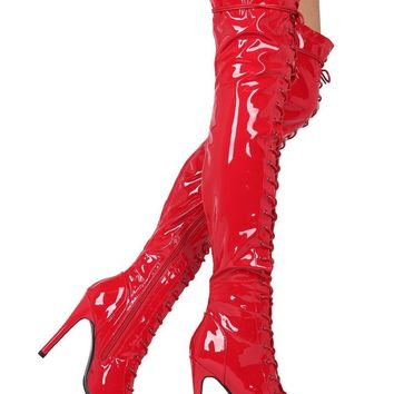 Top Show Red Patent Open Toe High Heel Lace Up OTK Thigh Boots