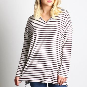 Piko 1988 Striped V-Neck Top