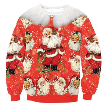 Men Women Santa Xmas Christmas Novelty Ugly Long Sleeve RED Retro Jumper Warm Sweater Christmas Couple Sweater 2018 Winter Tops