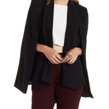 Black Structured Cape Blazer by Charlotte Russe