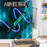 Minecraft Mine Craft shower curtains adorabel bathroom and heppy shower.