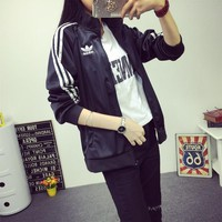 """Adidas"" Unisex Casual Multicolor Stripe Long Sleeve Zip Cardigan Baseball Clothes Couple Coat"