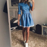 Blue Denim Dress with Lace