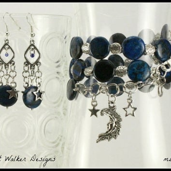 Blue Indian Agate Onyx Beaded Memory Wire Bracelet and Earrings Set, mbes1001, One Of A Kind