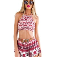 Elephant Printed Crop Top and Shorts Set