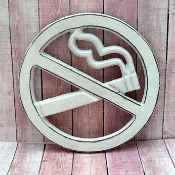 No Smoking Symbol Wall Sign Classic White Shabby Elegance Round No Strike Cigarette Smoking Small Office Business Restaurant Shop Plaque