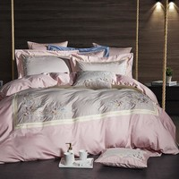 Pink Grey Luxury Egyptian Cotton Bedsheet set Oriental Embroidery Bedding set Queen King size Quilt/Duvet cover Bed set Pillows