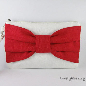 SUPER SALE - Ivory with Red Bow Clutch - iPhone 5 Wallet, iPhone Wristlet, Cell Phone Wristlet, Cosmetic Bag, Zipper Pouch - Made To Order