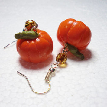 Pumpkin Earrings. Polymer clay.