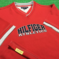 Free Shipping Vintage 90's Tommy Hilfiger Jersey Hilfiger Athletics spell out Jersey T Shirt Red Excellent condition