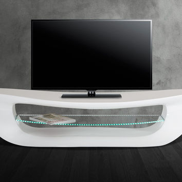 Modrest Crest - Contemporary White TV Stand