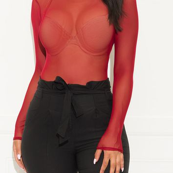 Stay Here With Me Mesh Bodysuit Burgundy
