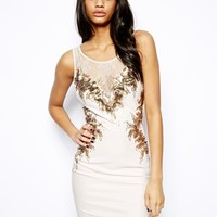Lipsy Embellished Body-Conscious Dress - Nude