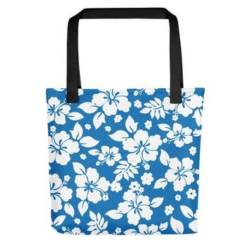 Hawaiian Tropical Hibiscus Blue and White Pattern Tote bag