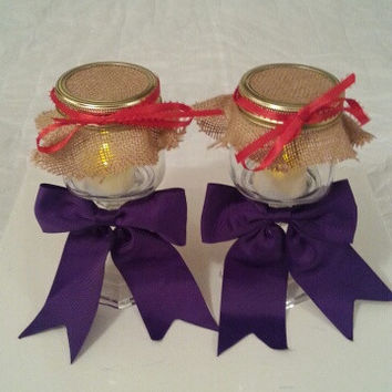 Burlap purple red wedding candle jar / center piece set. Any color to match your wedding