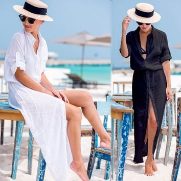 Pareo Beach Kaftan Sarong Bathing Suit Swimsuit Beach Cover Up Swimwear Saida De Praia Women Long Blouse Shirt Beach Dress Tunic