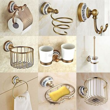 FarenHot Antique Brushed Copper & Porcelain Wall Mounted Hardware Bathroom Accessories Set 8