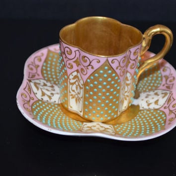 Jeweled Coalport Demitasse Cup & Saucer, Antique Coalport Enameled Hand Painted Teacup with Saucer
