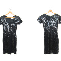 Black 80s Sequins Mini Dress Form Fitting Body Con Dress Sexy Bandage Dress Shimmer DELLS Vintage 1980s Party Dress Womens Small XS