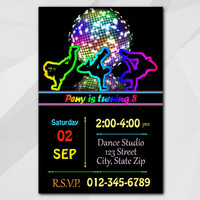 Disco Dance Birthday Invitation, Dance Invitation, disco themed party, dance birthday, etsy Custom Birthday invitation C001-1