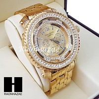 Men's Hip Hop Iced Out 14K Gold PT Bling Lab Diamond Techno King Watch L1