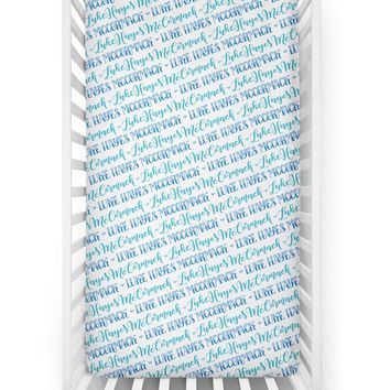 Crib sheet - Hearts blue pattern with two custom colors