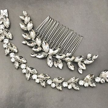 Bridal Leaf Bracelet Hair comb set, Bridal Hair Jewelry, Bridal Jewelry Set