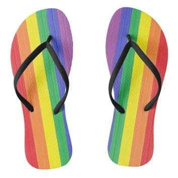 Painted Rainbow Flag Flip Flops