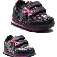 Toddler Girls 4393 Floral Print Velco Strap Running Sneakers Shoes